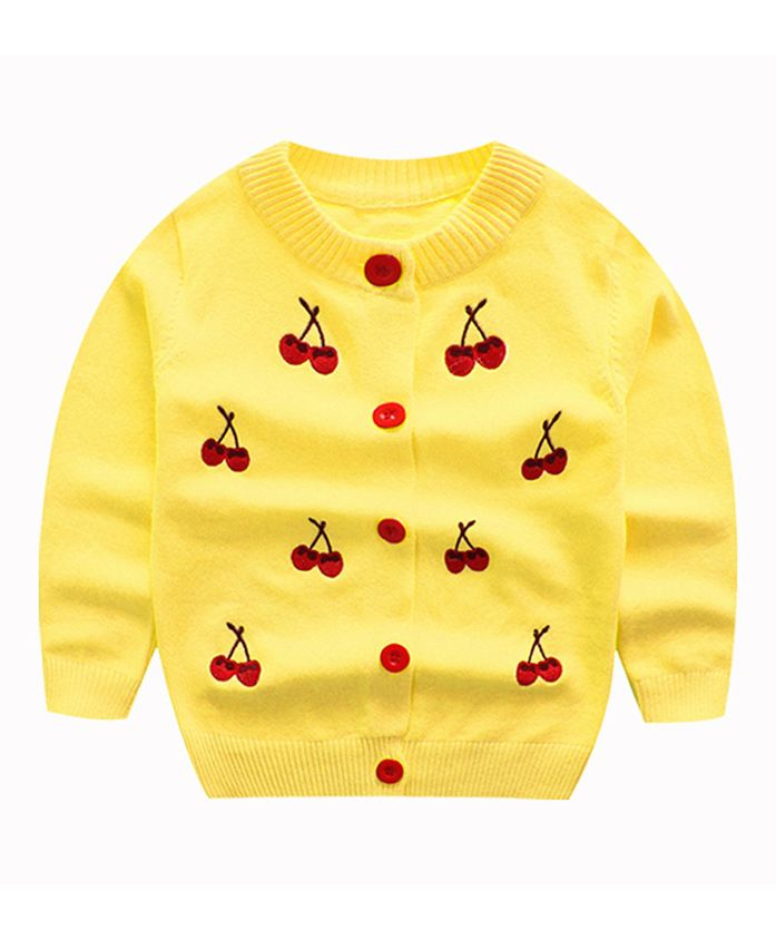 Pre Order - Awabox Cherry Embroidered Full Sleeves Cardigan - Yellow