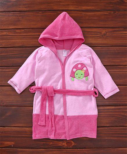 Pink Rabbit Hooded Bath Robe Tortoise Patch - Pink