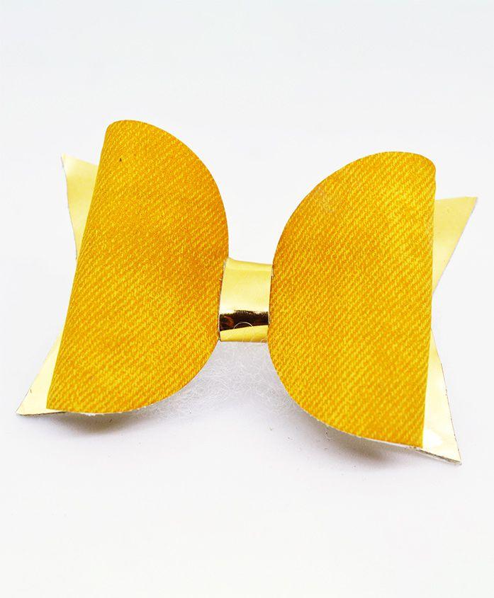 Little Tresses Self Design Bow Hair Clip - Yellow