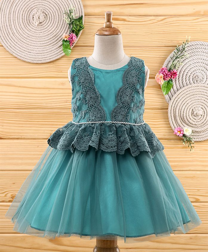 Amigo 7 Seven Pearls Embellished Sleeveless Dress - Blue
