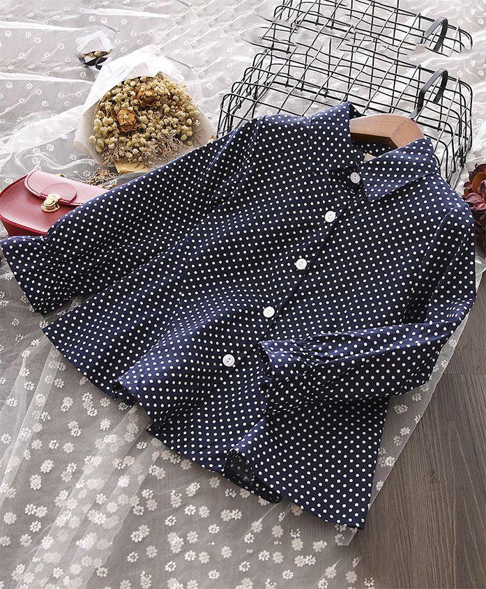 Pre Order - Awabox Polka Dot Long Sleeves Shirt - Blue