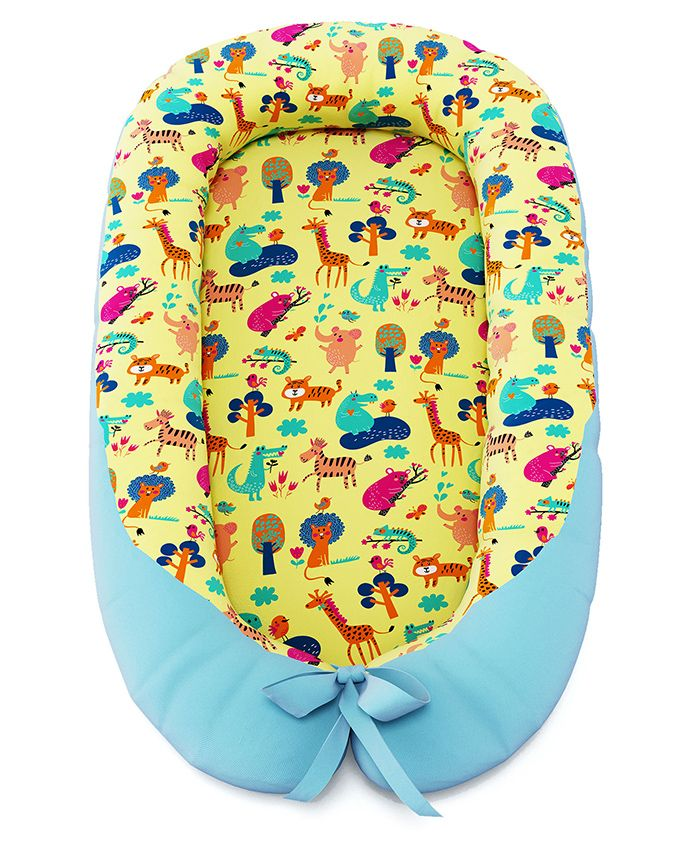 Fancy Fluff Baby Cocoon With Bed Protector Noahs Ark Theme - Light Yellow