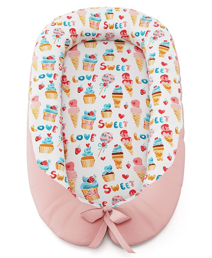 Fancy Fluff Baby Cocoon With Bed Protector Candyland Theme - Peach