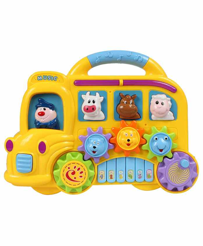 Planet of Toys Car Shaped Piano Musical Toy - Yellow