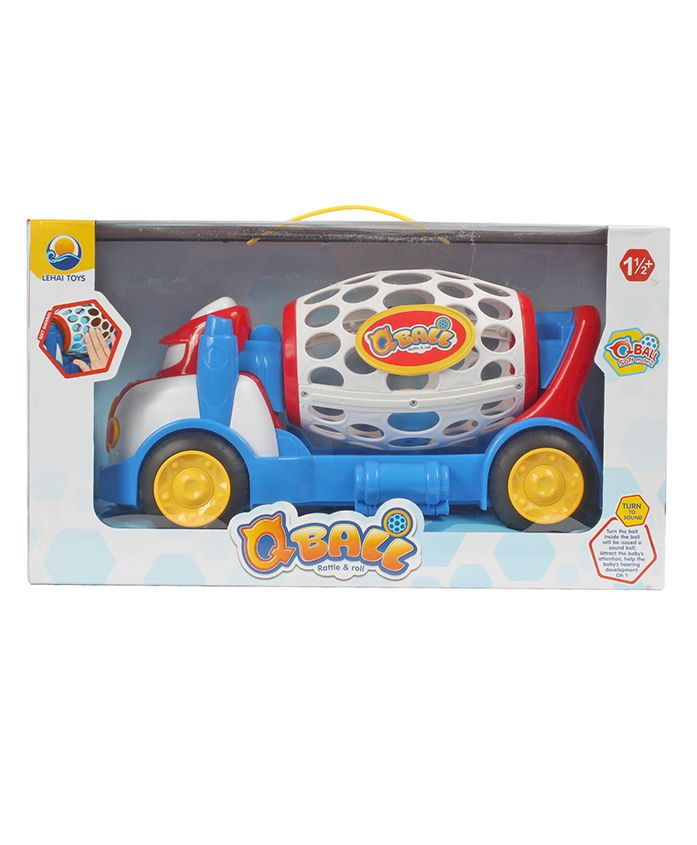 Planet of Toys Roll & Rattle Q Ball - Blue White