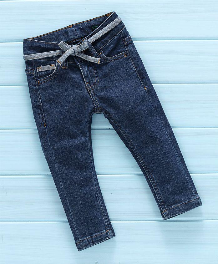 UCB Full Length Slim Fit Jeans With Belt - Dark Blue