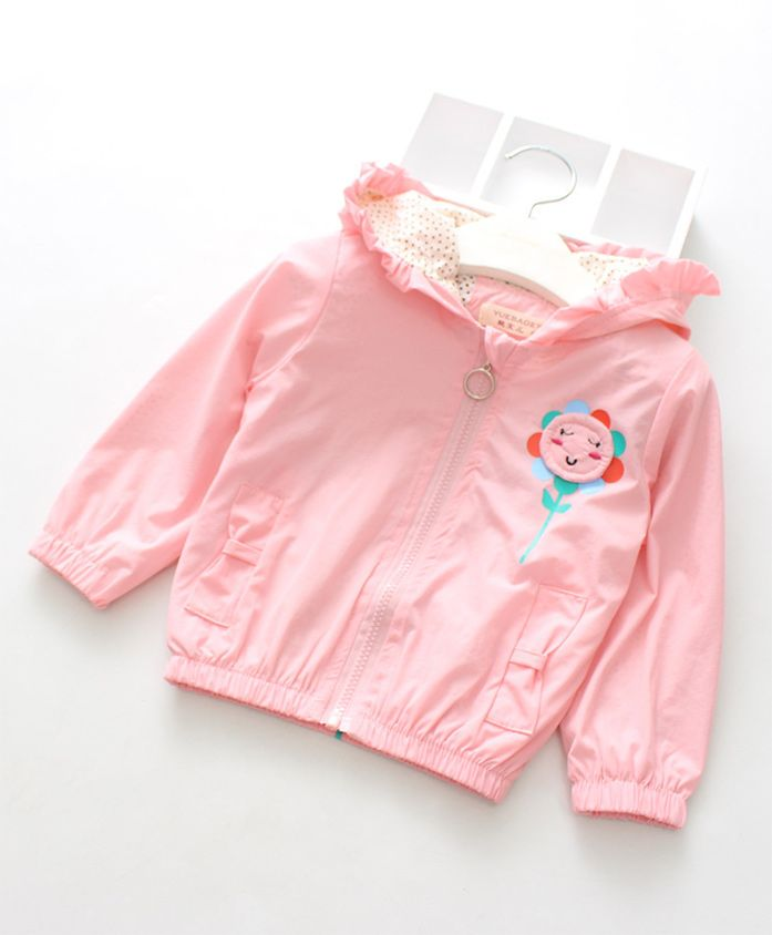 Pre Order - Awabox Sunflower Applique Hooded Full Sleeves Jacket - Light Pink