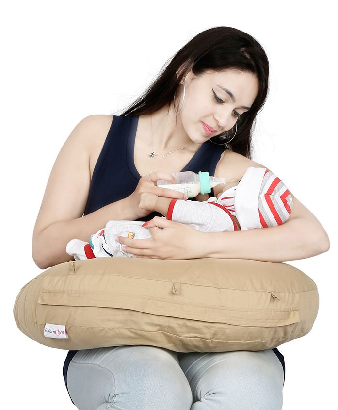 Lulamom Curved Soft Feeding Pillow - Brown