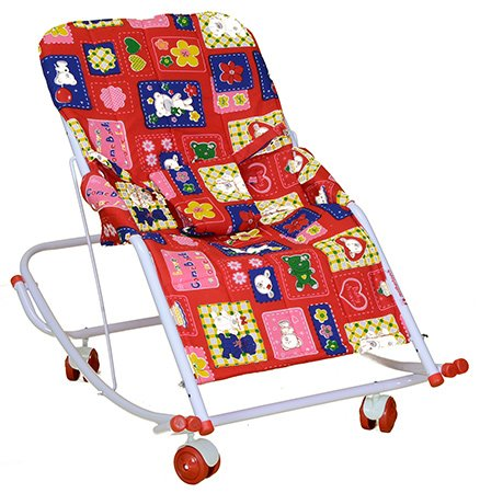 Mothertouch Swing Rocker Red - Teddy Print