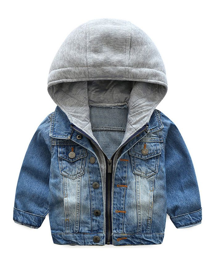 Pre Order - Awabox Denim Hooded Full Sleeves Jacket - Blue