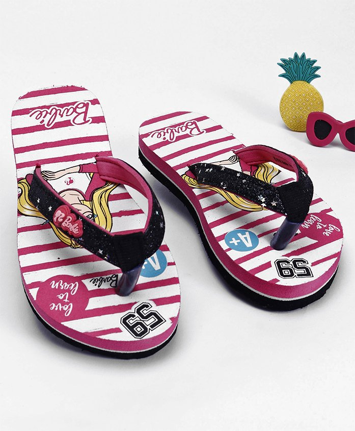 Barbie Flip Flops With Applique - Pink