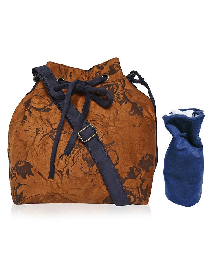 Lost & Found Mini Bag with Bottle Cover - Brown & Blue