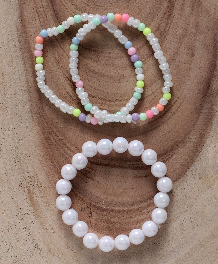 Babyhug Pearl & Beaded Bracelet Pack Of 4 - White