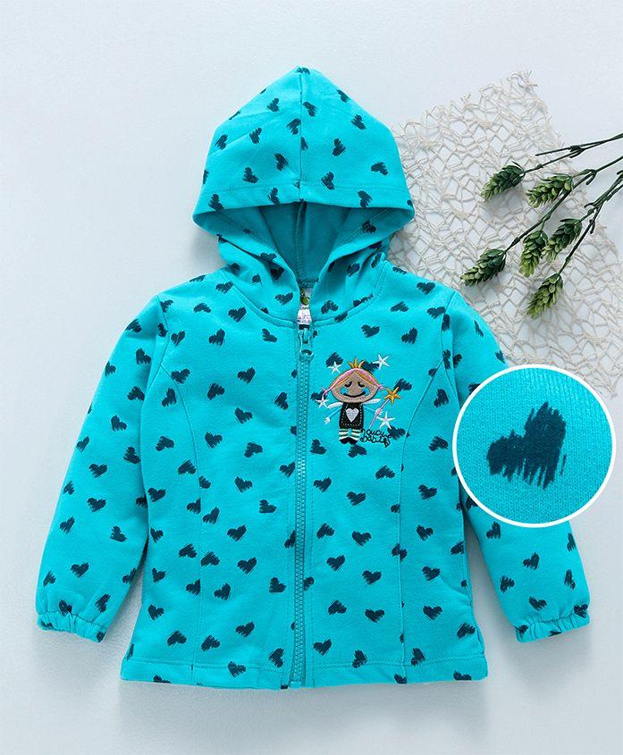 Cucumber Full Sleeves Hooded Sweat Jacket Girl Embroidered - Aqua Blue