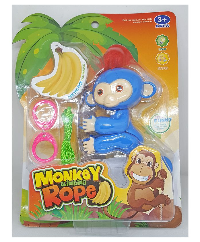 Skylofts Rope Climbing Monkey Toy With Music & Lights - Blue