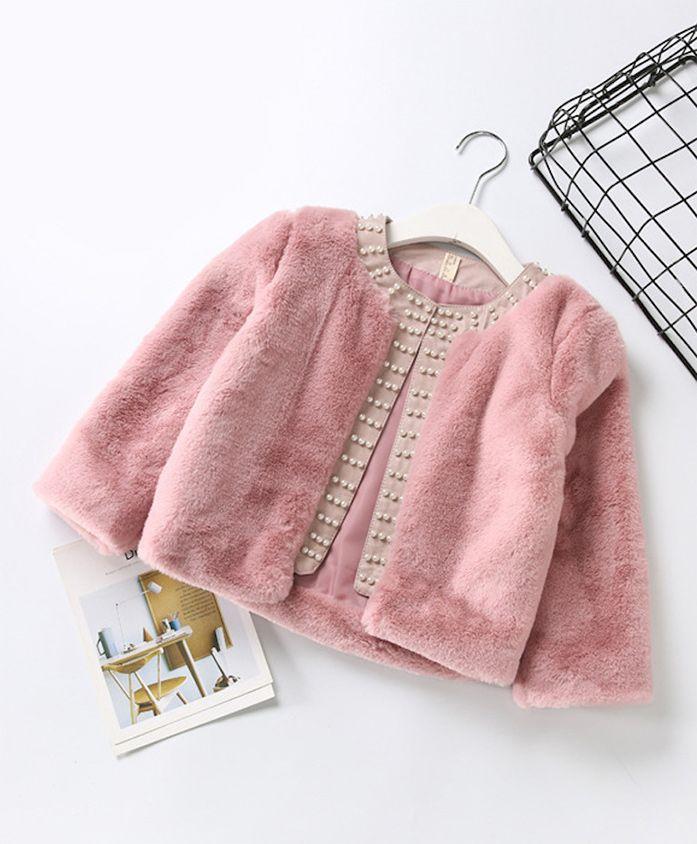 Pre Order - Awabox Pearl Embellished Long Sleeves Jacket - Pink