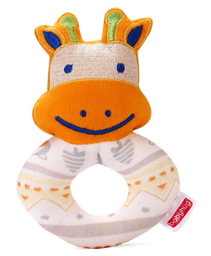 Babyhug Giraffe Face Rattle Cum Soft Toy Ring - White & Orange