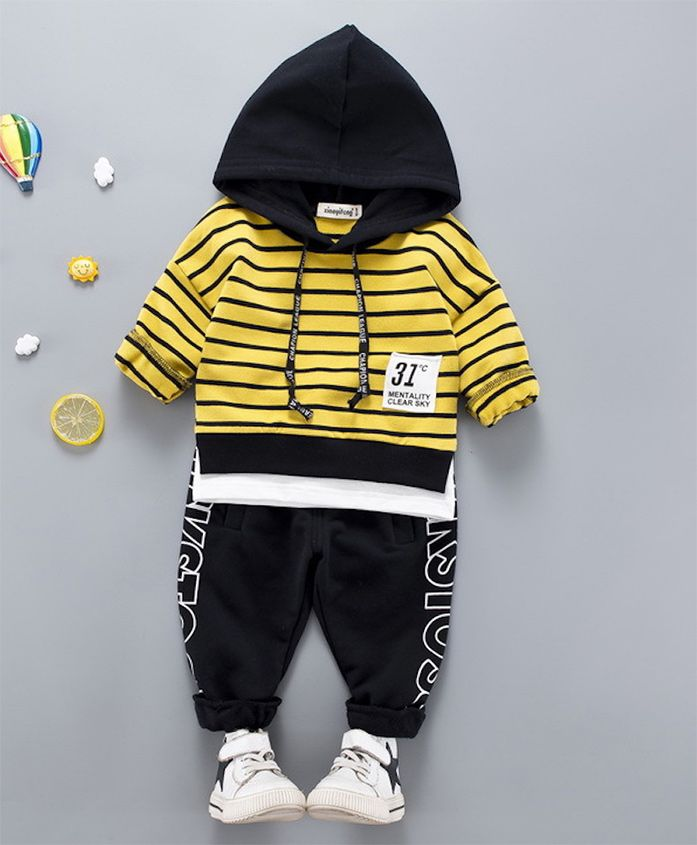 Pre Order - Awabox Striped Hoodie & Full Length Bottom Set - Yellow