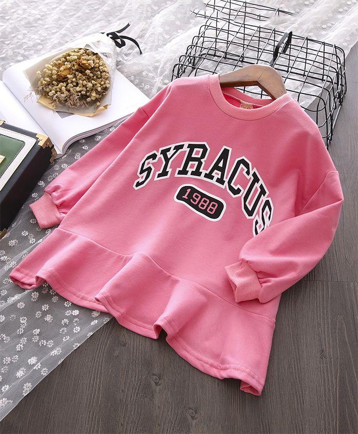 Pre Order - Awabox Printed Full Sleeved Dress - Pink