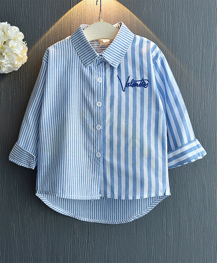 Pre Order - Awabox Striped Full Sleeves Shirt - Blue