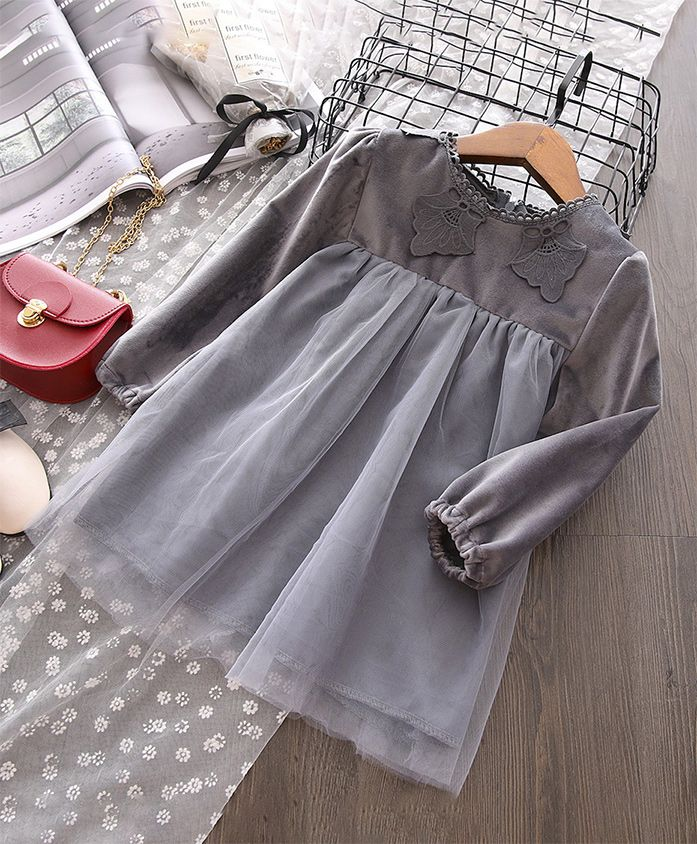 Pre Order - Awabox Applique Netted Dress - Grey