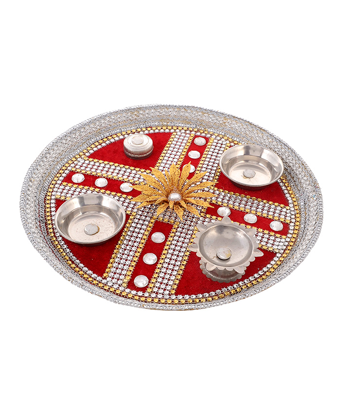 Little Palz Mirror Work Thali - Red