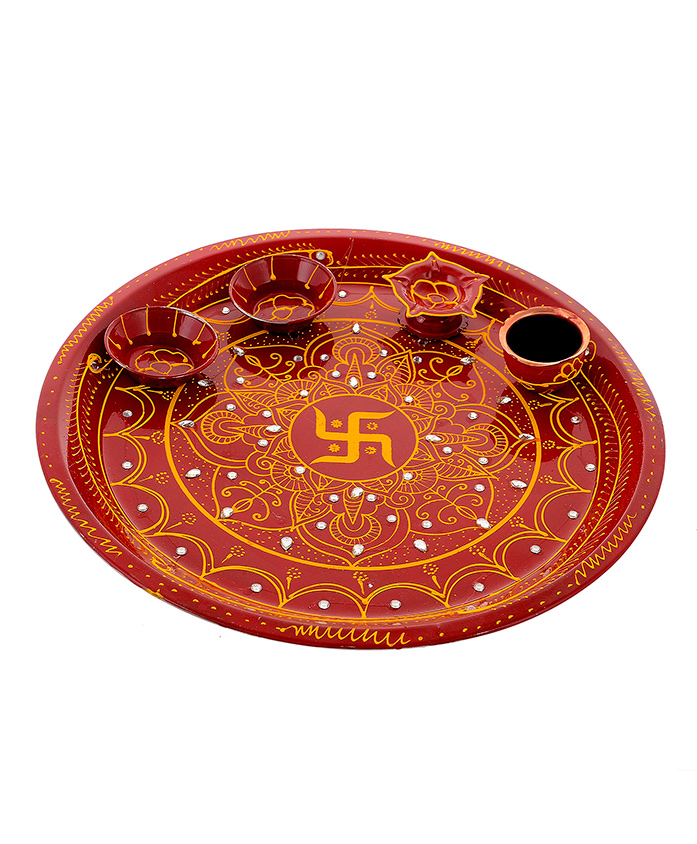 Little Palz Swastik Design Thali - Brown