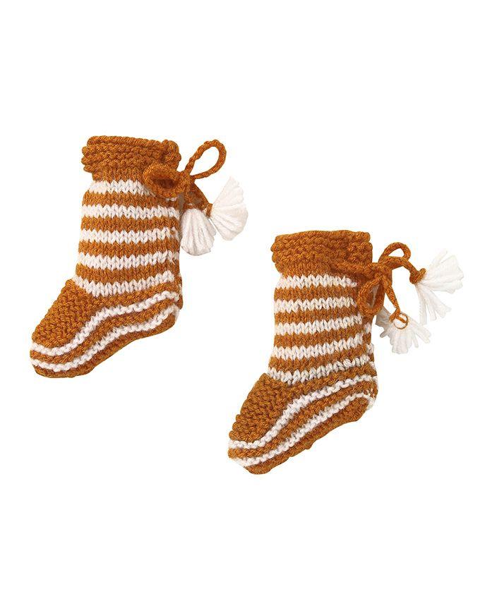 MayRa Knits Striped Socks - Brown