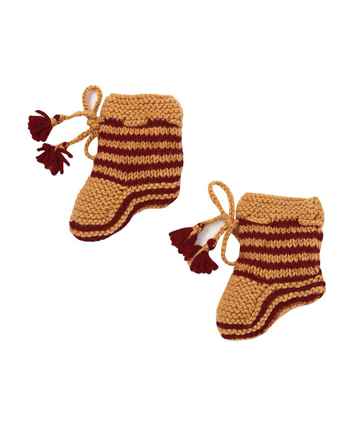 MayRa Knits Striped Pom Pom Design Socks - Brown