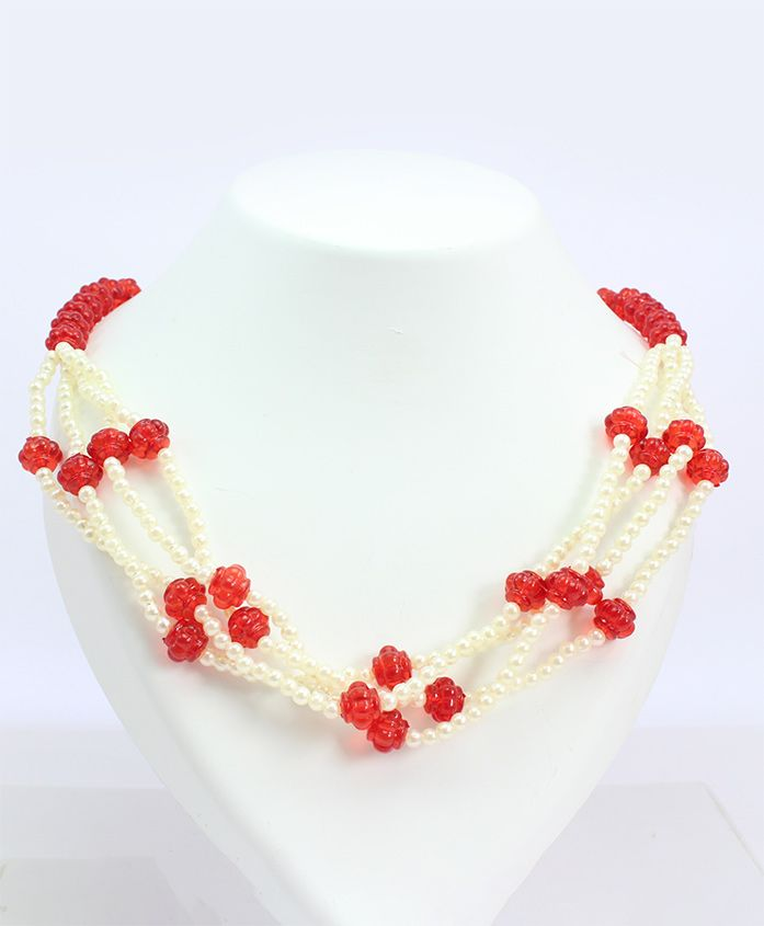 Milyra Layered Crystal & Pearl Necklace - Red Off White