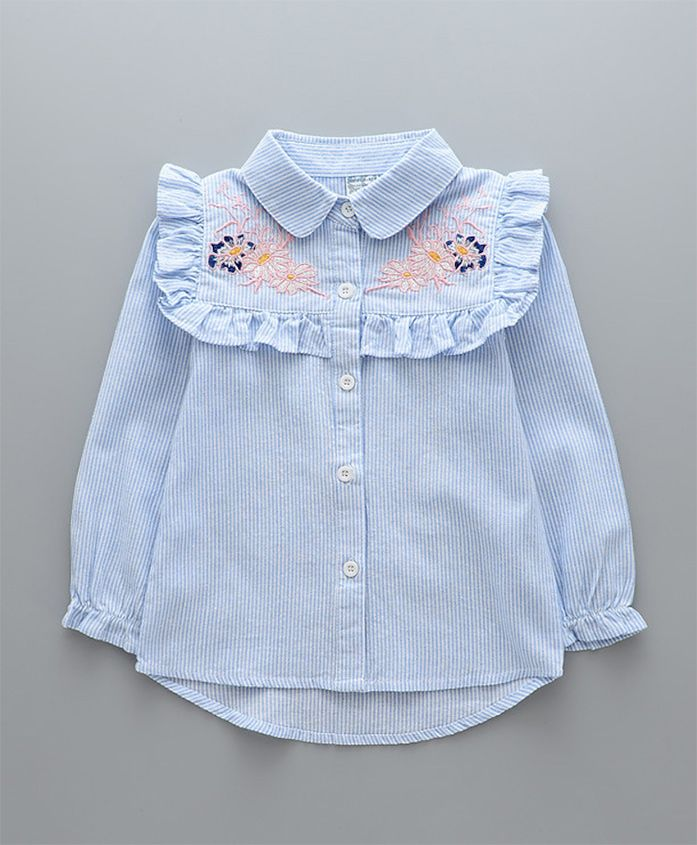 Pre Order - Awabox Floral Embroidered Full Sleeves Shirt - Light Blue