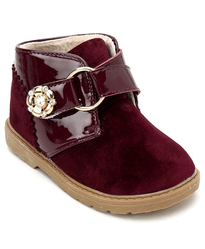 Cute Walk by Babyhug Party Wear Boots With Floral Embellishment - Maroon