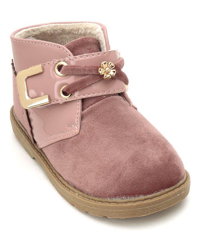 Cute Walk by Babyhug Party Wear Boots Floral Motifs - Pink