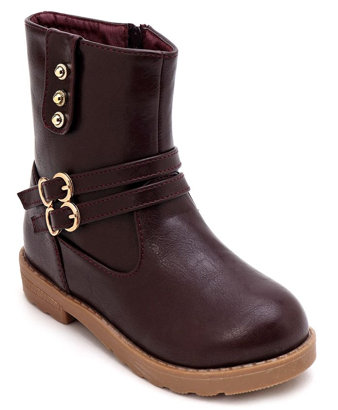 Cute Walk by Babyhug Ankle Length Boots With Buckle - Dark Brown