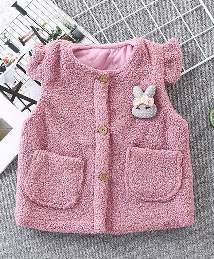 Pre Order - Awabox Short Sleeves Faux Fur Jacket Bunny Applique - Pink