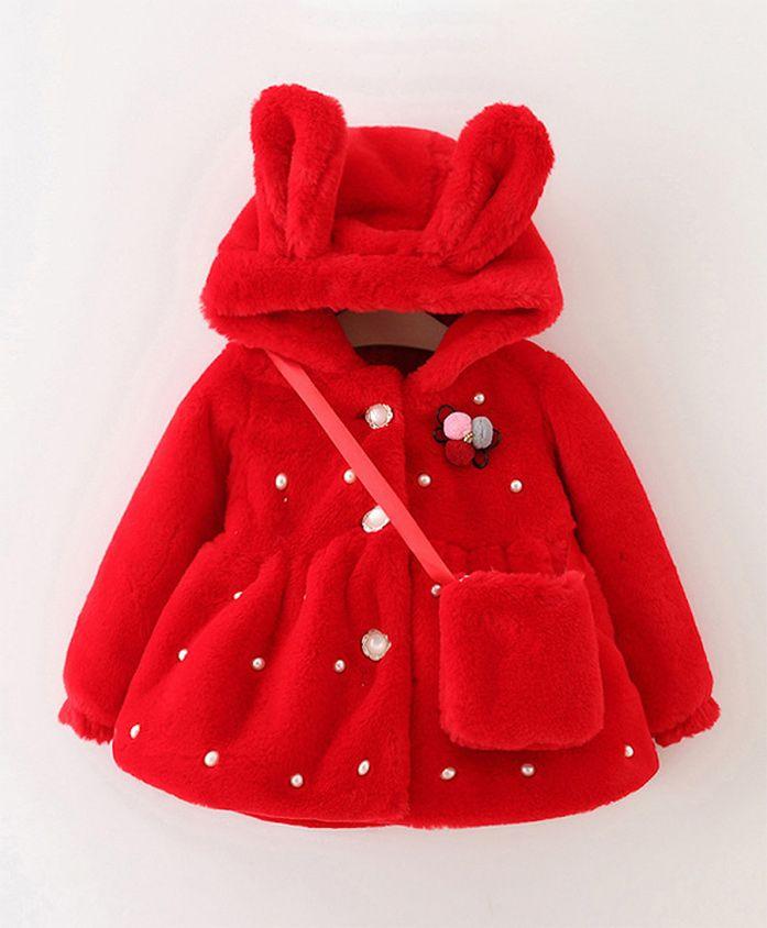 Pre Order - Awabox Full Sleeves Hooded Jacket Pearl Embellishment - Red