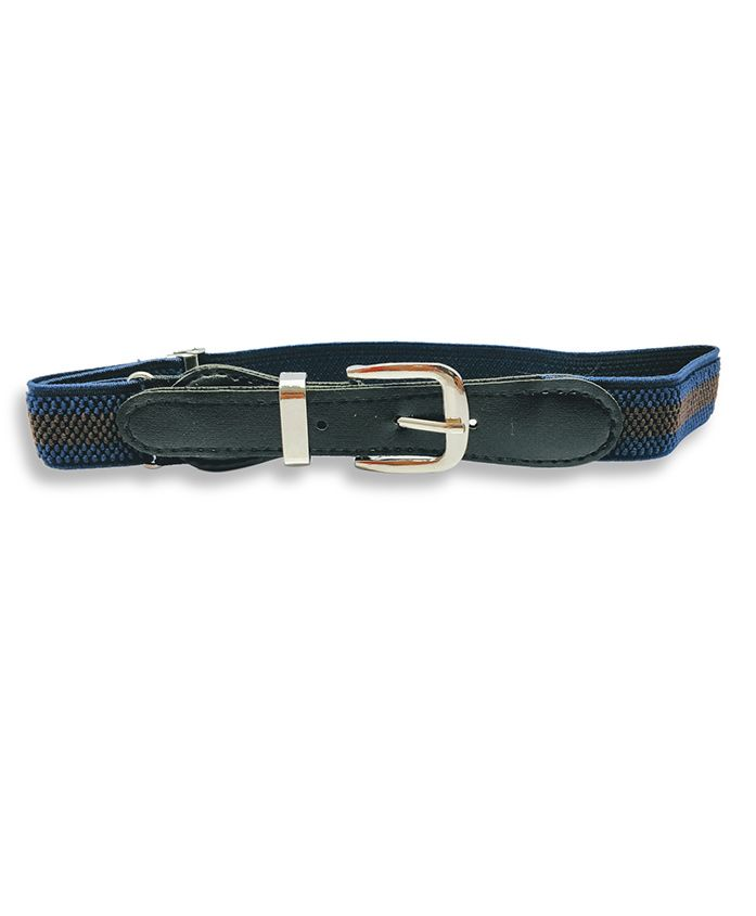 Kid-O-World Stretchable Striped Belt - Dark Blue And Brown