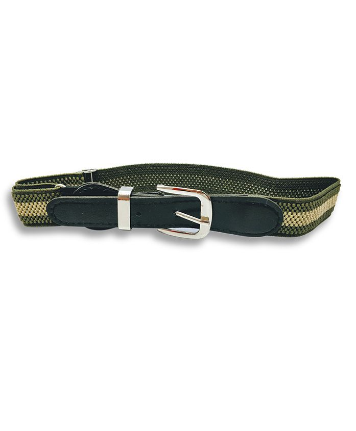 Kid-O-World Stretchable Striped Belt - Green And Beige