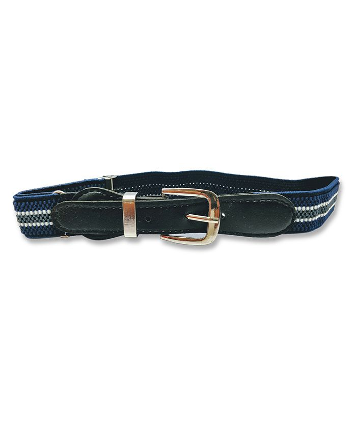 Kid-O-World Stretchable Buckle Closure Striped Belt - Dark Blue