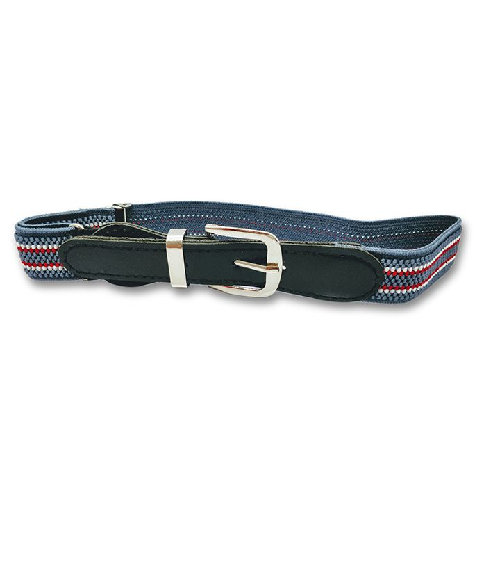 Kid-O-World Stretchable Buckle Closure Striped Belt - Grey