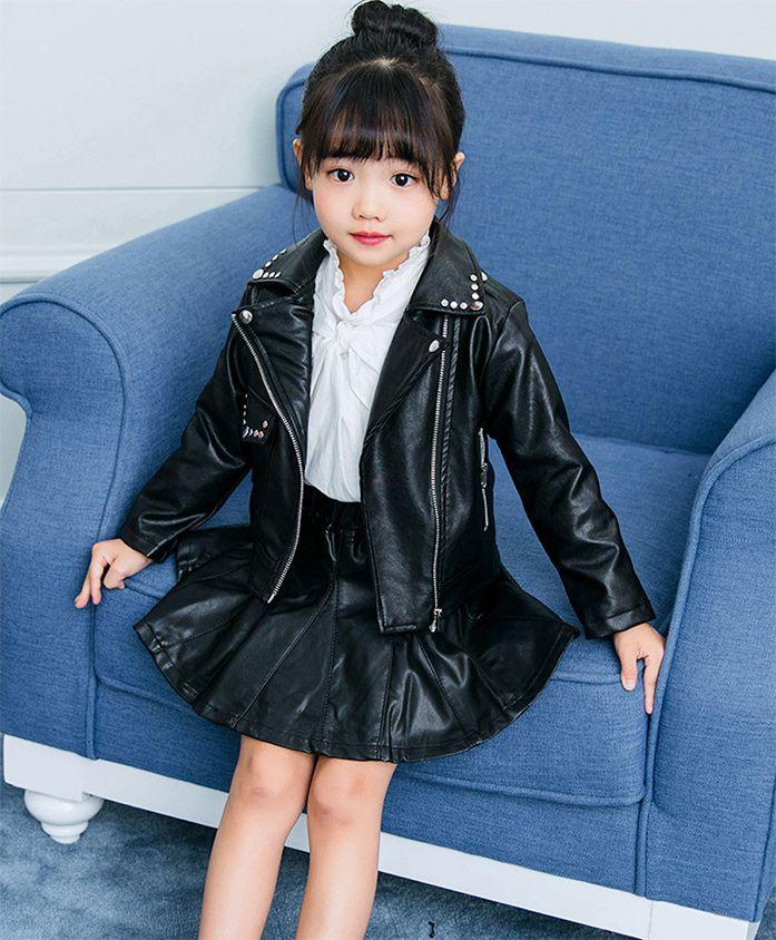 Pre Order - Awabox Metallic Buttons Embellished Full Sleeves Jacket - Black