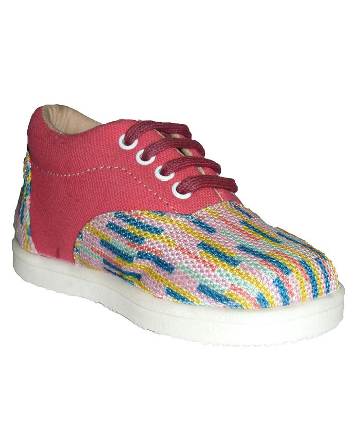 MOKS Printed Laced Casual Shoes - Pink