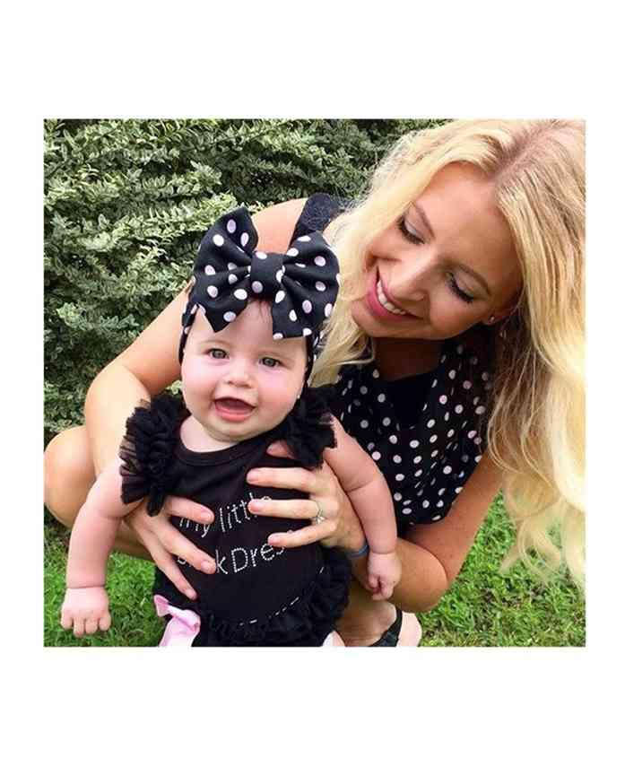Babymoon Cotton Mom Scarf And Baby Headband - Navy Blue