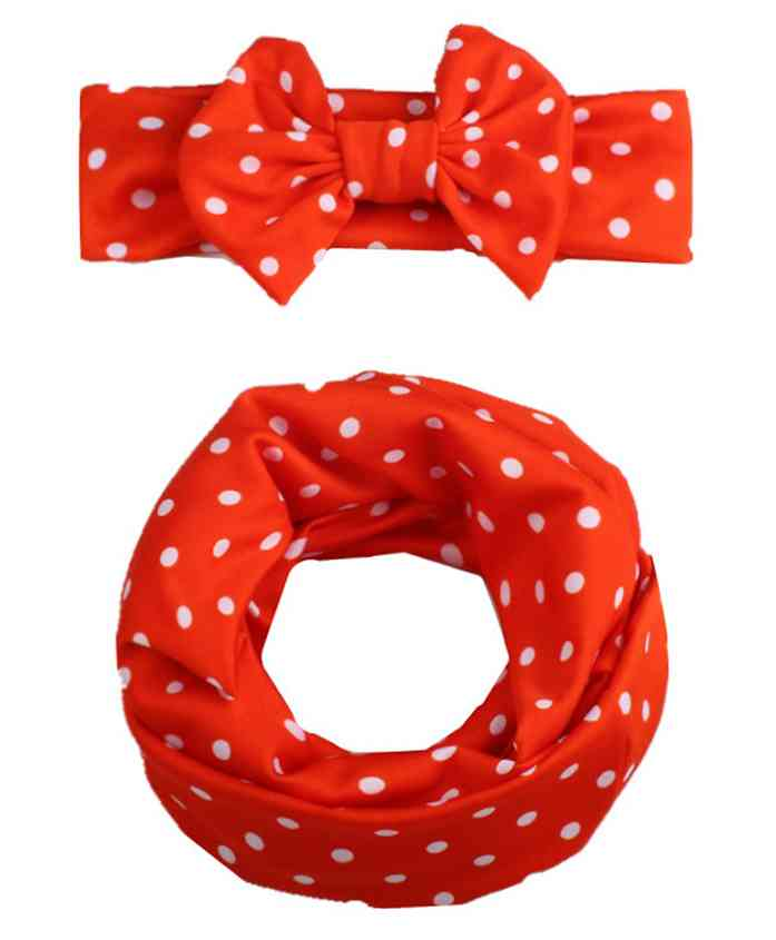 Babymoon Cotton Mom Scarf And Baby Headband - Red