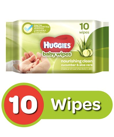 Huggies Nourishing Clean Baby Wipes With Cucmber & Aloe Vera - 10 Pieces