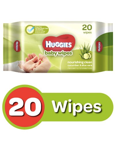 Huggies Nourishing Clean Baby Wipes With Cucmber & Aloe Vera - 20 Pieces