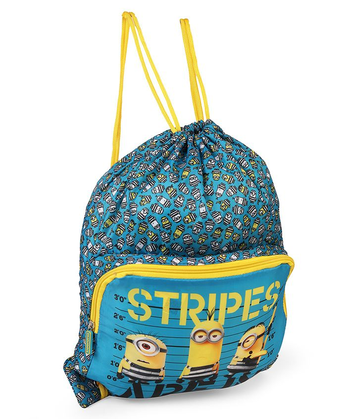 Minion Drawstring Bag Blue & Yellow - Height 18.5 inches