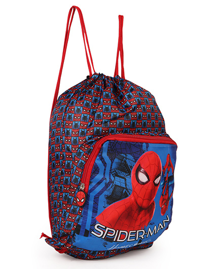 Marvel Spiderman Drawstring Bag Red & Blue - Height 14.5 inches