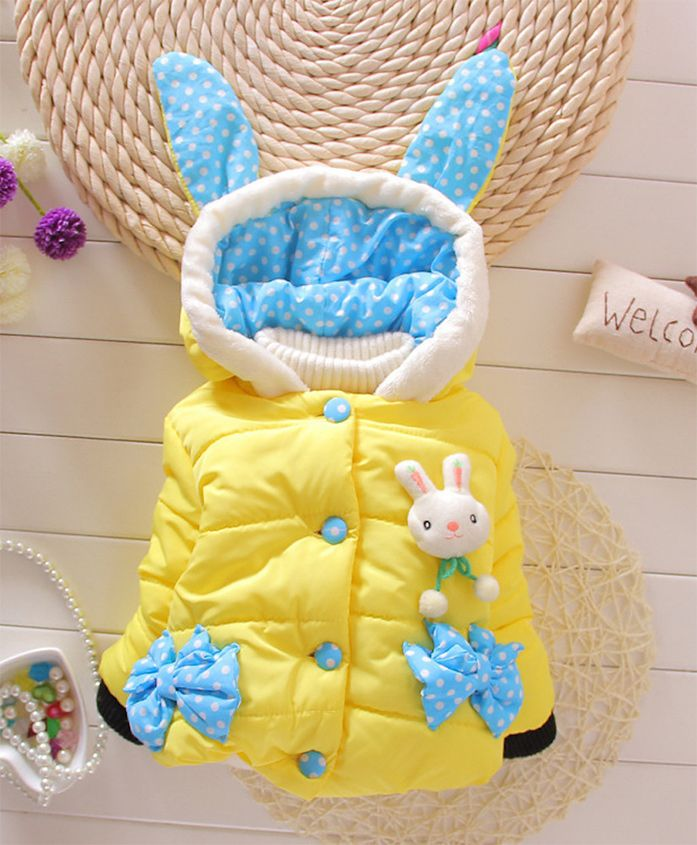 Pre Order - Awabox Rabbit Theme Quilted Full Sleeves Jacket - Yellow