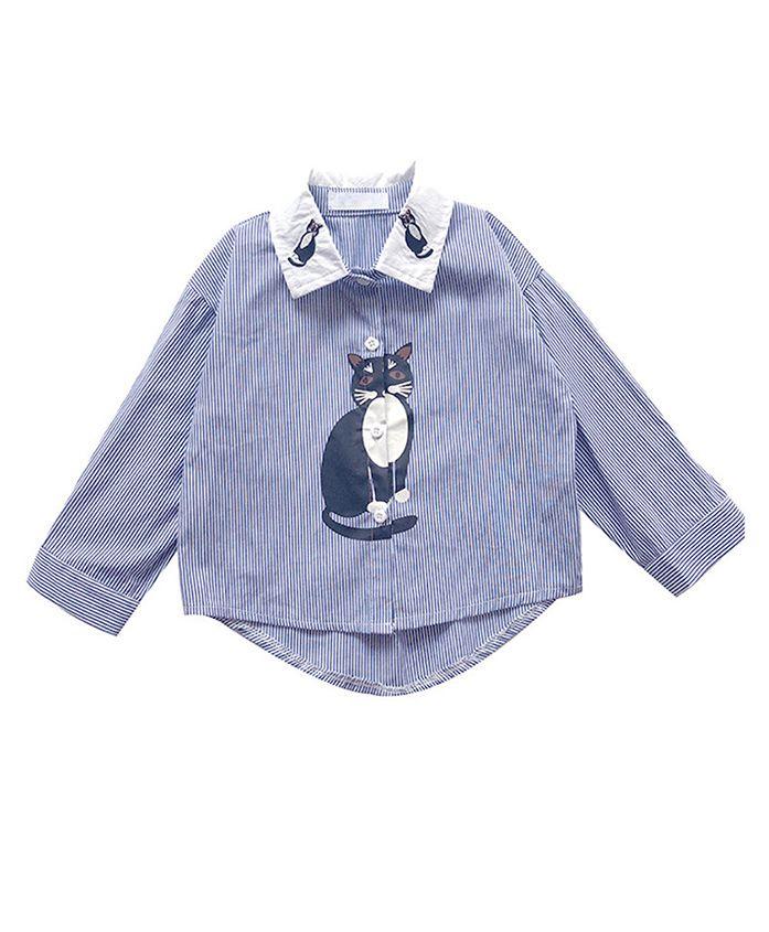 Pre Order - Awabox Cat Print Full Sleeves Shirt - Blue